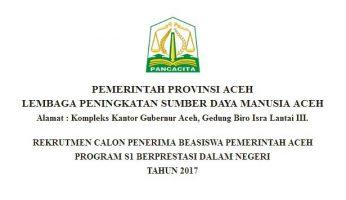 Beasiswa Pemerintah Aceh Kuliah S1 untuk Lulusan SMA Sederajat