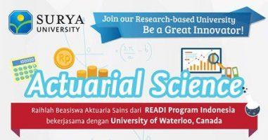 Beasiswa Surya University untuk Kuliah S1 Ilmu Aktuaria Tahun 2018-2019