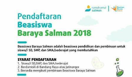 Beasiswa Baraya Salman untuk Pelajar SD, SMP, dan SMA Bandung