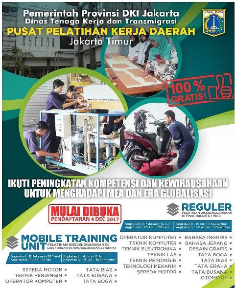 Pelatihan Kerja Gratis di Jakarta Timur oleh Dinas Tenaga Kerja dan Transmigrasi