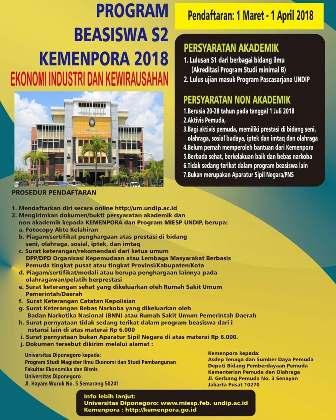 Beasiswa UNDIP Program S2 Ekonomi Industri dan Kewirausahaan oleh KEMENPORA Tahun 2018