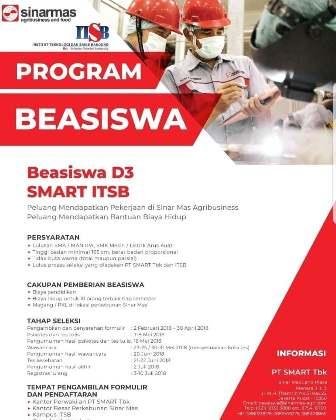 Beasiswa Kuliah D3 Smart ITSB untuk Lulusan SMA/SMK Sederajat Tahun 2018