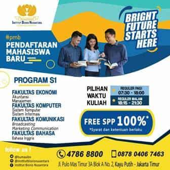 Beasiswa Kuliah S1 Institut Bisnis Nusantara Tahun 2018 - 2019
